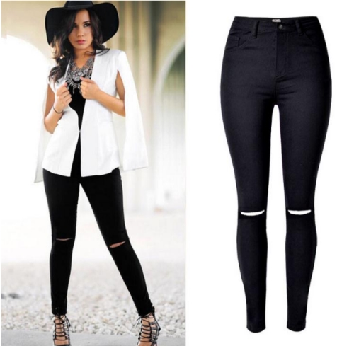 Black High Waisted Elastic Jeans with Knee Holes