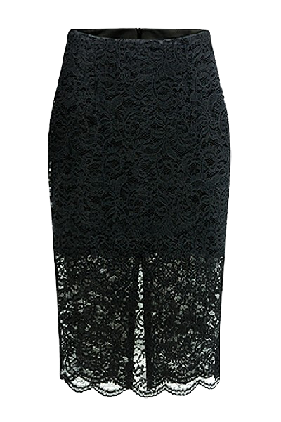 black-lace-split-back-knee-length-pencil-skirt-with-scallop-hem-and-split