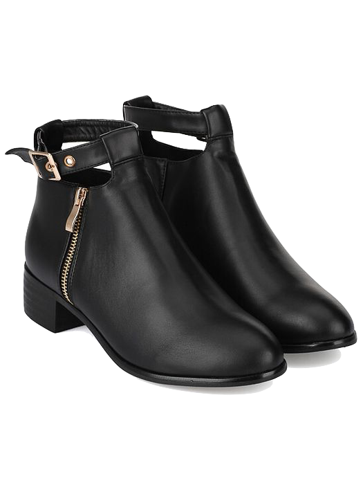 black-leather-ankle-boots-with-side-zipper