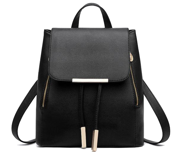 Black Leather Backpack with Gold Zipper and Tassel Detailing