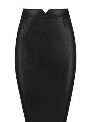 black-leather-knee-length-pencil-skirt