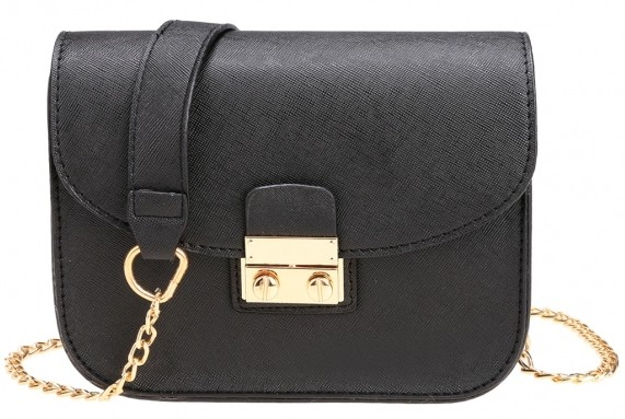 black-pu-leather-mini-chain-bag-with-gold-metallic-strap