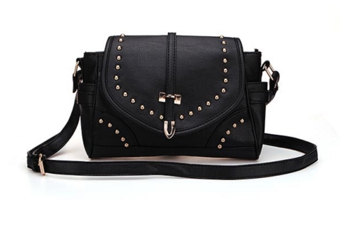 Black PU Leather Shoulder Bag with Studded Details