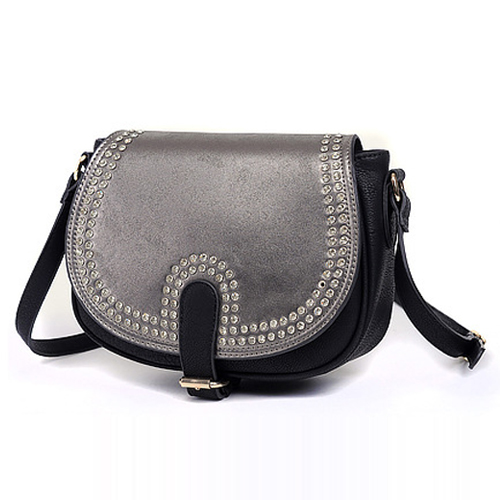 Black PU Saddle Bag with Rhinestone Details