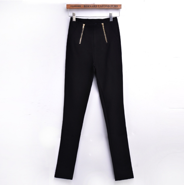 Black Slim Fit Stretchy Leggings Pants With Double Zipper