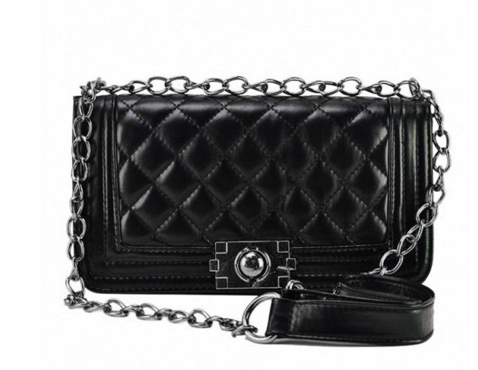 Black : White Leather Crossbody with Quilted Texture & Chain Straps Detailing