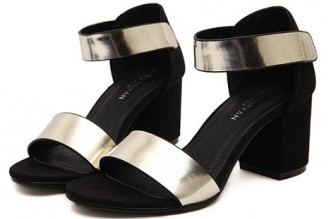 Black ankle strap platform heels with metallic strap
