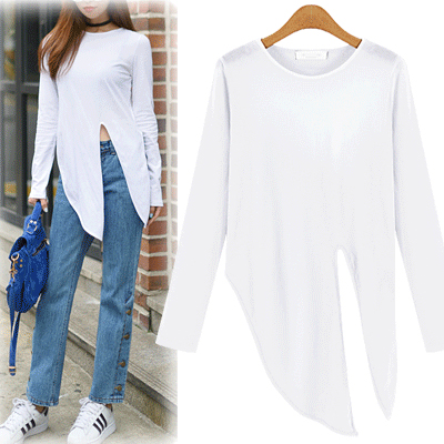 black-or-white-tie-knot-long-sleeves-top