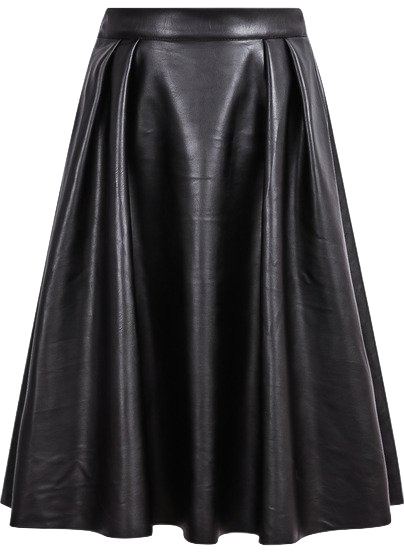 black-pleated-pu-leather-midi-skirt