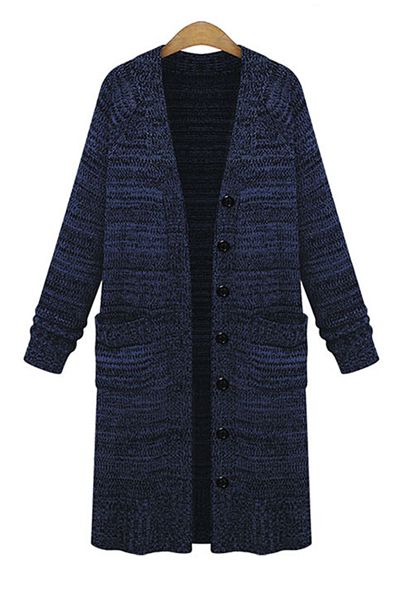 Blue Long Knitted Cardigan Featuring Front Buttons and Pockets