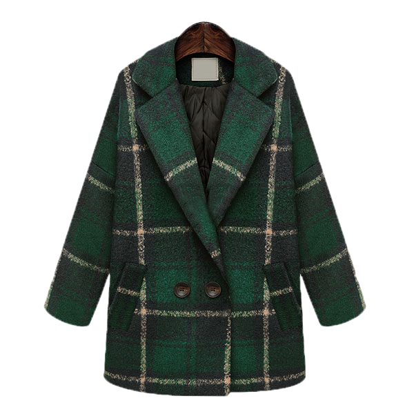 Checkered Lapel Double Breasted Woolen Coat