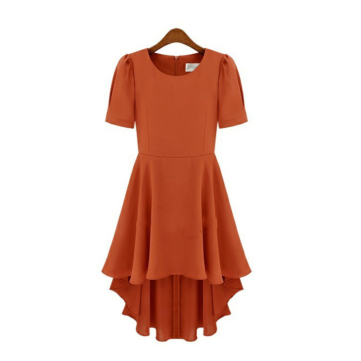 chiffon-pleated-high-low-dress-featuring-puff-sleeves-and-crew-neck-in-tawny-and-black