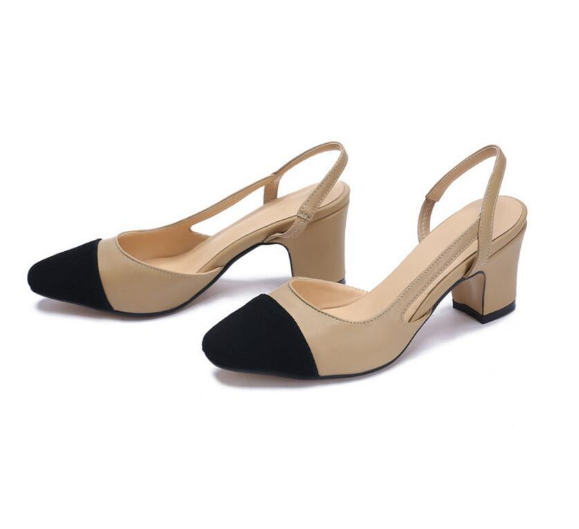 color-block-rounded-toe-sling-back-block-heel-pumps