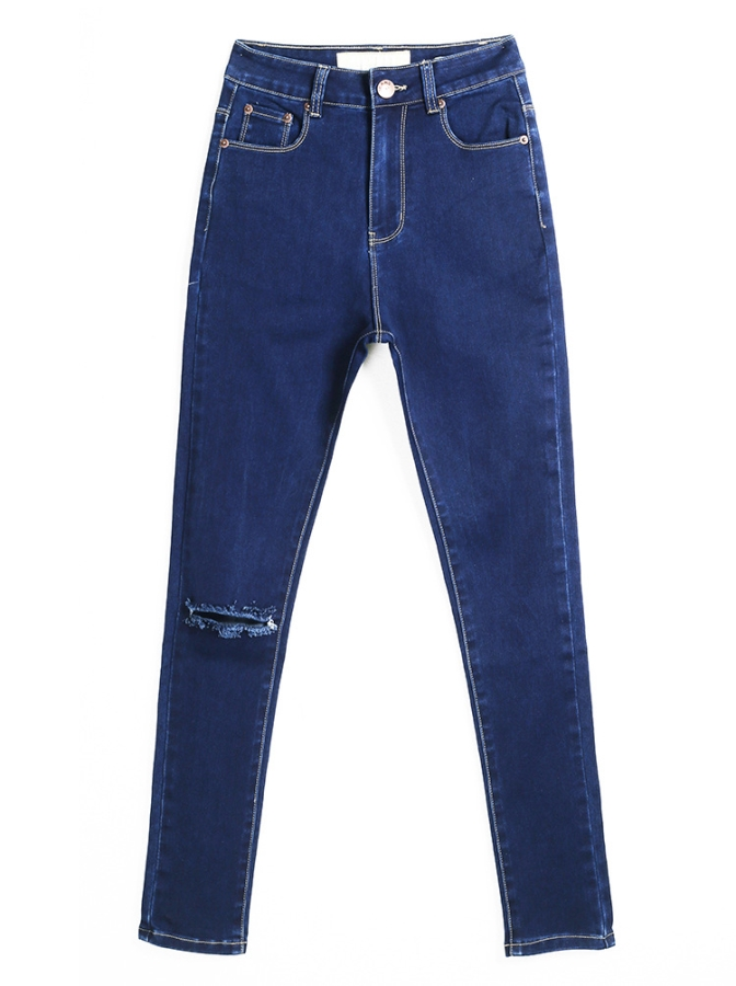 Dark Blue Skinny Denim Jeans with Distressed Detailing