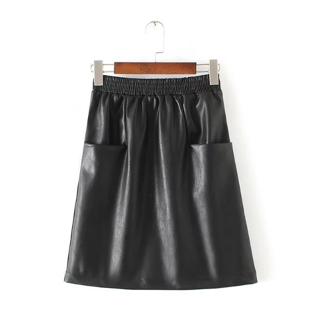 fashion-women-black-pu-leather-elastic-waist-skirt-with-pockets