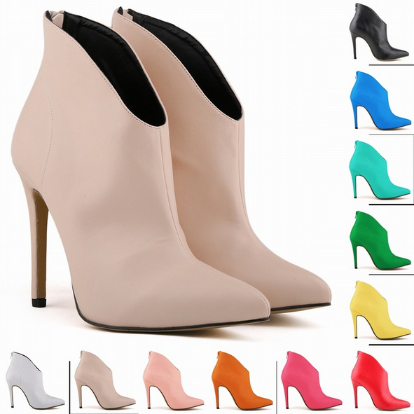 faux-leather-pointed-toe-high-heel-ankle-boots-featuring-deep-v-front