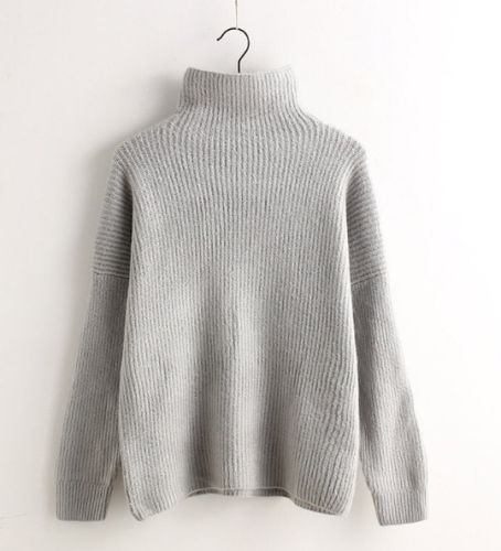 Grey Minimal High Collar Knit Pullover Sweater