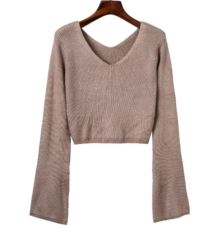 khaki-plunge-v-cropped-long-flared-sleeve-knitted-sweater