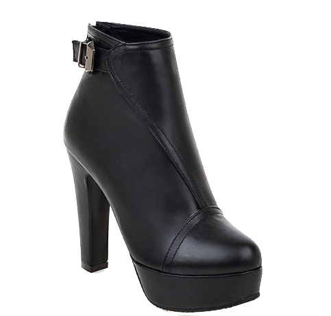 Leather Chunky Heel Ankle Boots With Buckle Straps