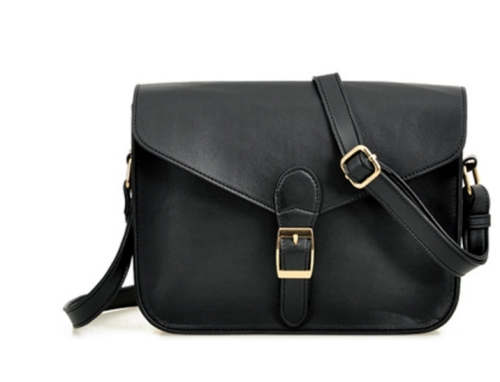 Leather Messenger Shoulder Bag with Metal Clasp Closure