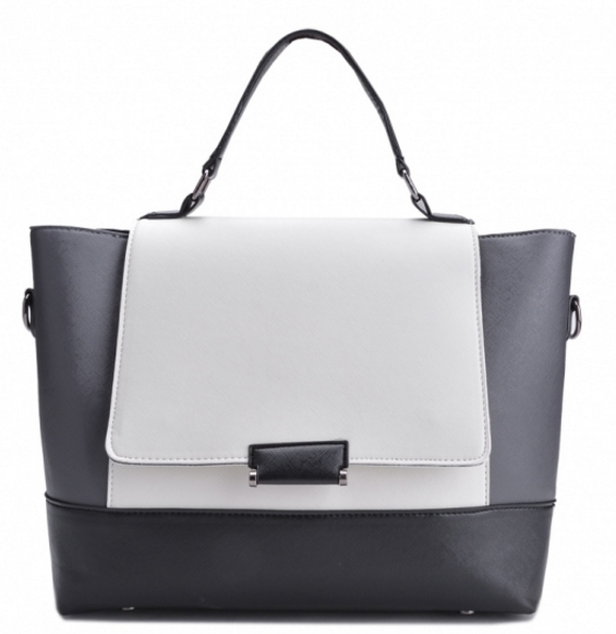 Monochromatic Leather Handbag with Detachable Shoulder Straps
