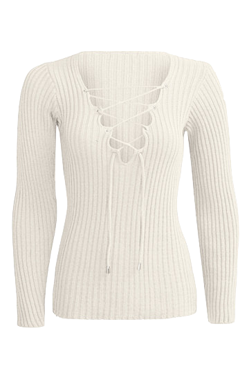 plunge-v-lace-up-knit-long-sleeve-sweater