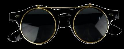 retro-black-lens-round-frame-flip-up-sunglasses