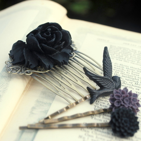 set-of-4-black-rose-hair-comb-and-hair-clips