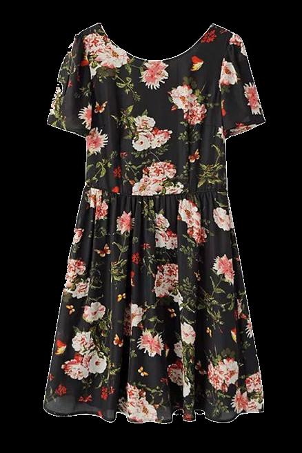 short-sleeves-crewneck-black-floral-dress