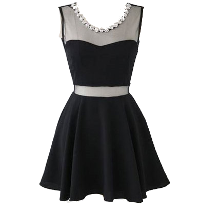 short-little-black-dress-with-decorated-neckline
