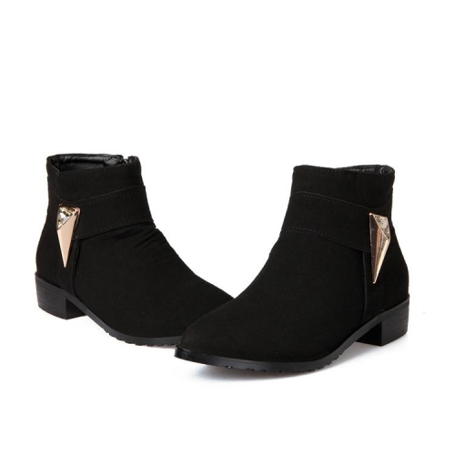 Solid Color Pointed Toe Block Heel Ankle Boots with Metal Embellishments and Side Zipper