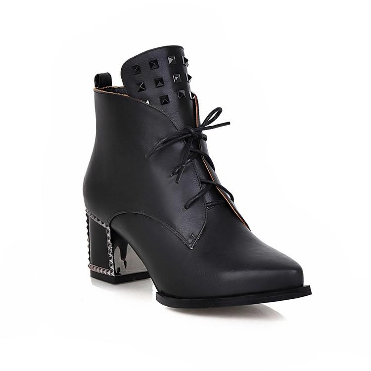 solid-color-pointed-toe-lace-up-chunky-heel-studded-ankle-boots
