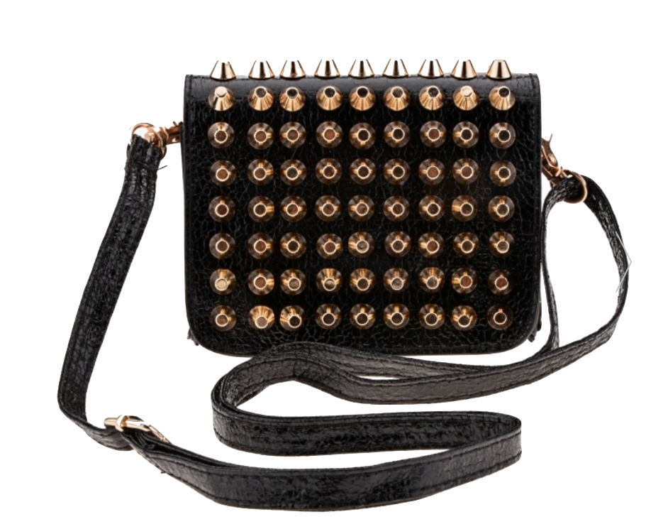 synthetic-leather-rivets-embellished-shoulder-bag