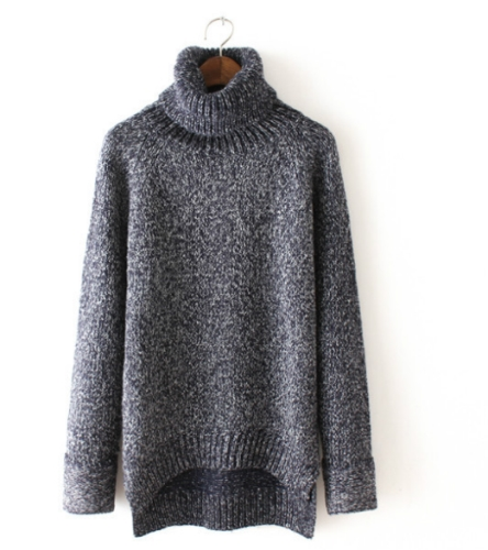 Thick Solid Color Loose Turtleneck Sweater