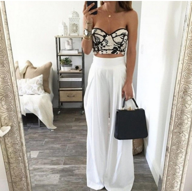 White High Waisted Wide-Leg Pants