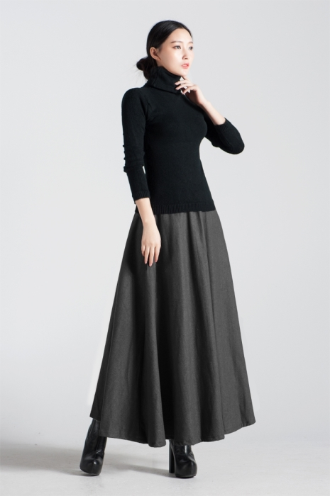Wool A-line Maxi Pleated Skirt