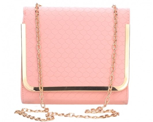 pink crossbody bag with metallic chain strap