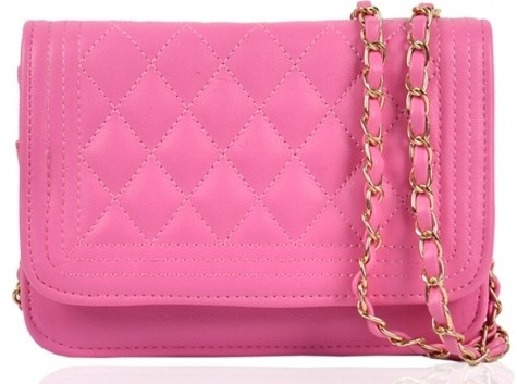 pink metallic chain strap shoulder bag
