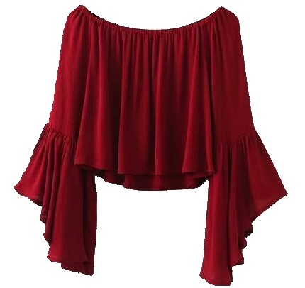 red off shoulder top with flare sleeves