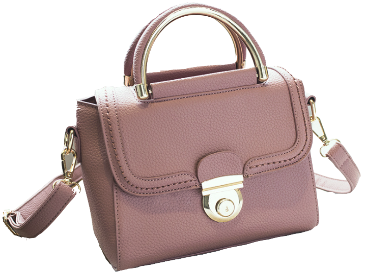 Pink Leather Retro Shoulder Bag with Metallic Clasp