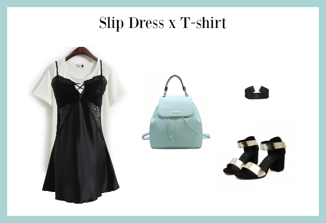 slip dress x T-shirt