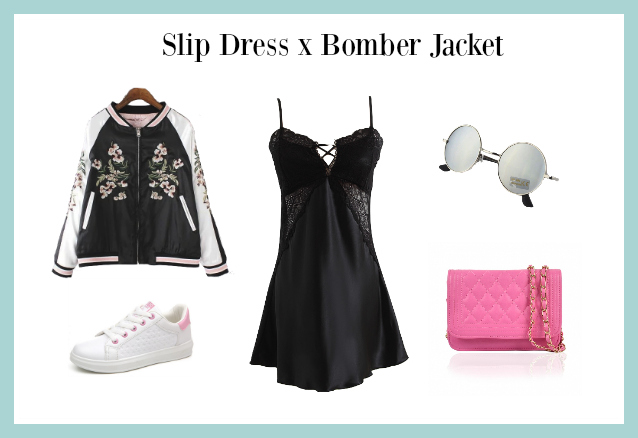 slip dress x bomber jacket