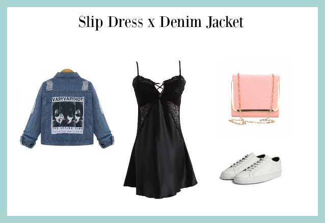slip dress x denim jacket