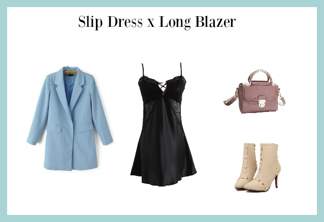slip dress x long blazer