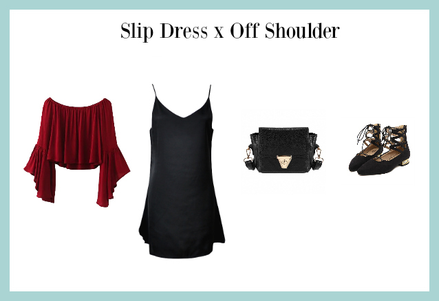 slip dress x off shoulder