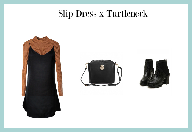 slip dress x turtleneck