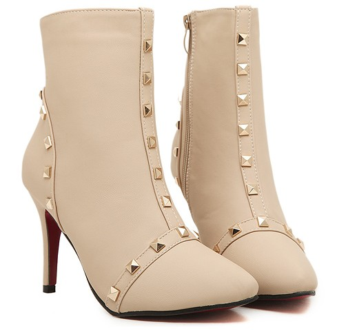 studded beige ankle boots