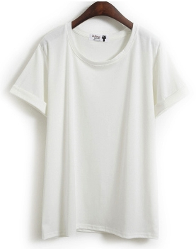 white cotton crewneck tee