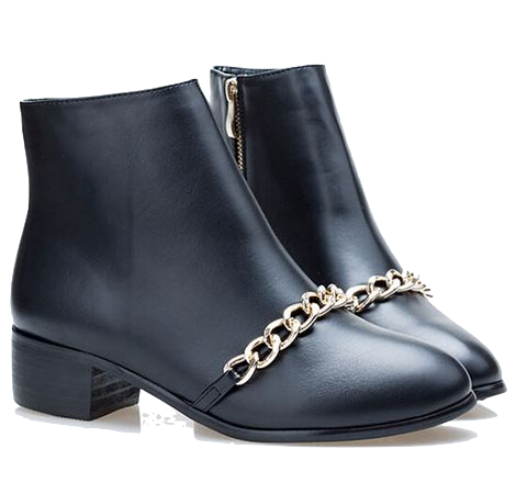 black-ankle-boots-with-gold-chain-design