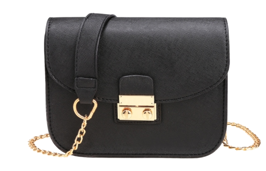 black-leather-crossbody-with-metallic-clasp-and-chain-straps
